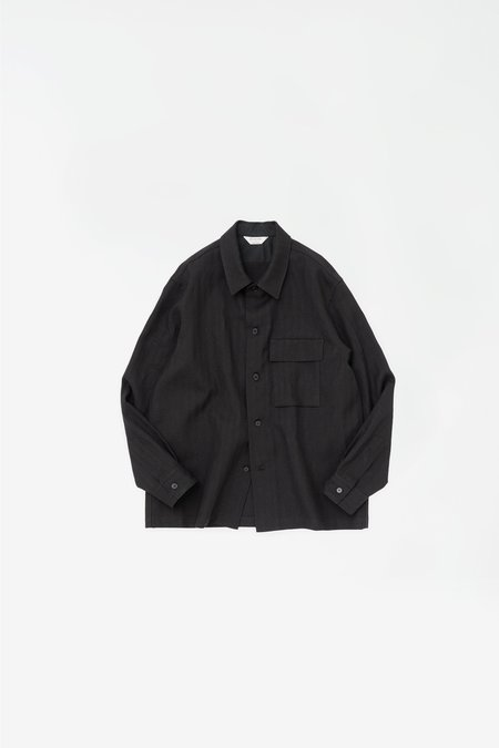 Still By Hand Flap pocket relaxed shirt - dark navy