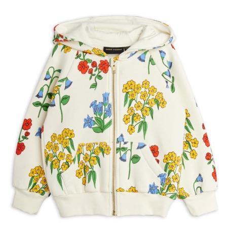 Kids mini rodini snow flowers aop zip hoodie - off white