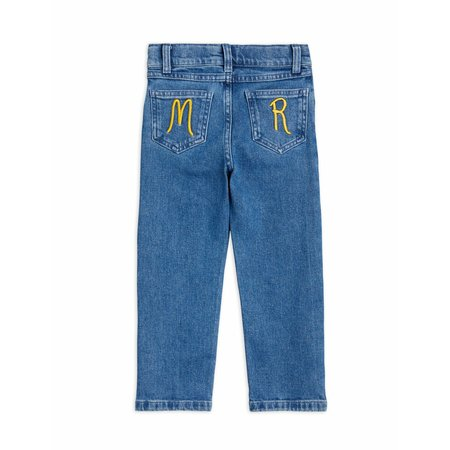 kids mini rodini straight leg denim jeans - blue