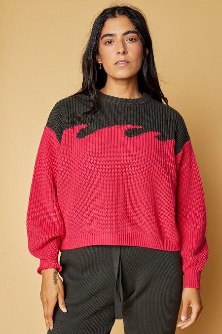 Back Beat Co. Organic Cotton Wave Sweater - Celery/Avocado