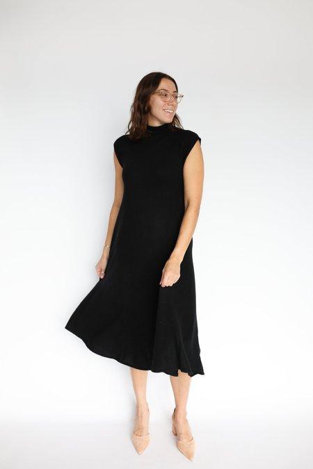 Autumn Cashmere Funnel Neck Flare Dress - Black