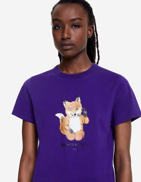 Unisex Kitsune All Right Fox Print Tshirt - Purple