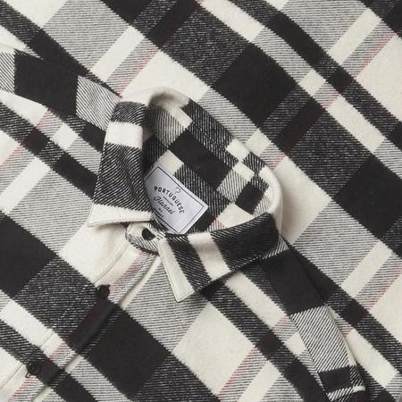 Portuguese Flannel Bonefire Stripe Flannel Shirt - Black/White