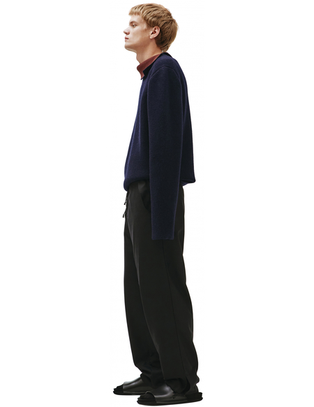Maison Margiela Wool Trousers With Drawstring - Black