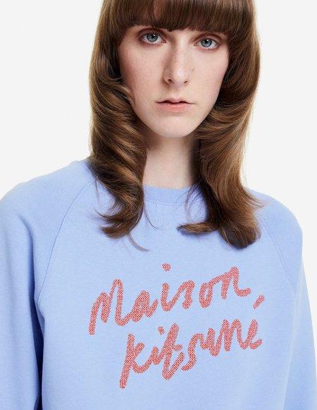 Kitsune Handwriting Adjusted Sweatshirt - Provencal Blue