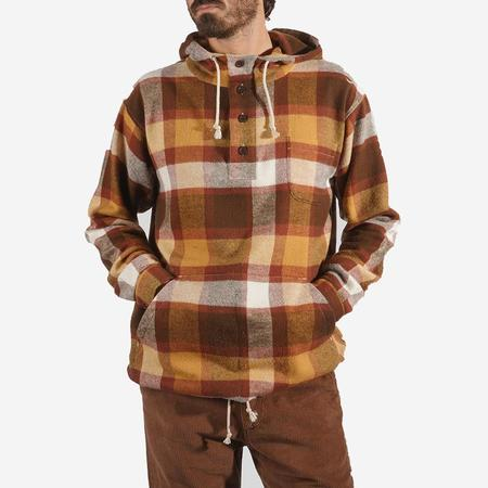 Portuguese Flannel Check Flannel Hoody - Terracotta