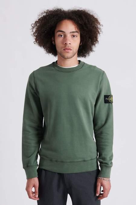 Stone Island Brushed Cotton Fleece Crew Neck Sweat Shirt - Sage