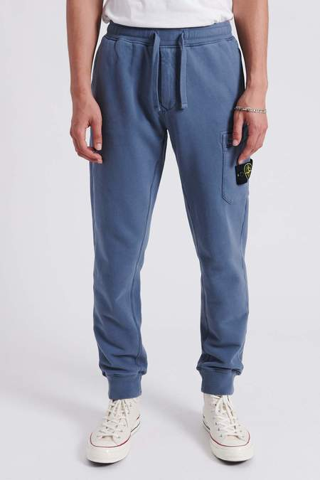 Stone Island Brushed Cotton Fleece Sweat Pants - Mid Blue