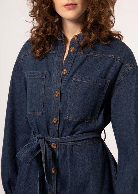 Mabel and Moss Chloe Mandarin Collar Jean Denim Short Dress - Blue