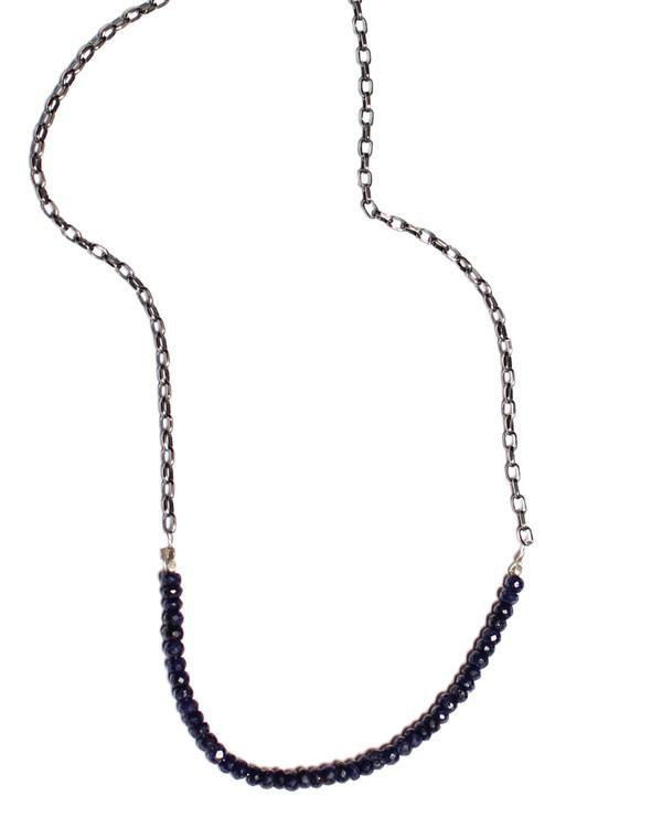 Sarah Dunn Oxidize Silver Sapphire Stone Necklace