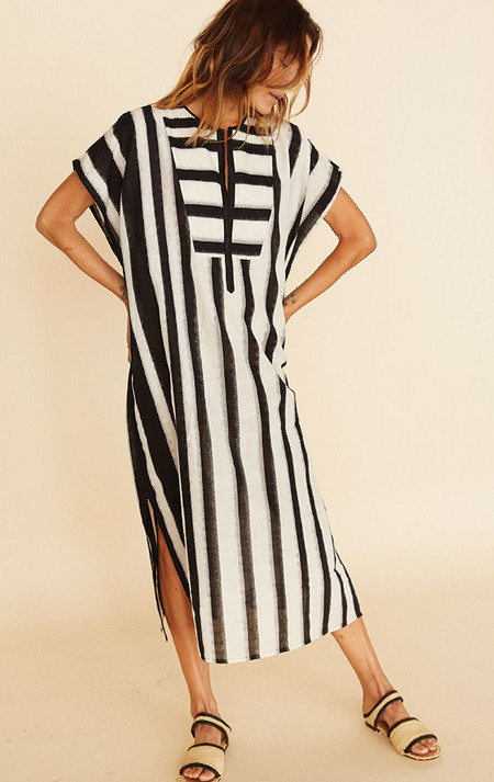 Two New York Ikat stripe black and white caftan