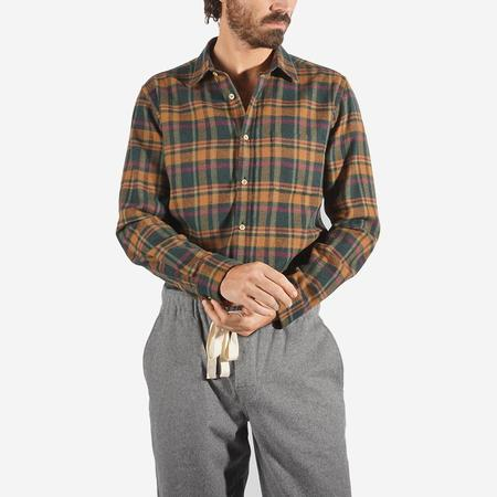 Portuguese Flannel Woods Plaid Flannel Shirt - Orange/Green