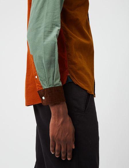 Beams Plus B.D. Panel Corduroy Shirt 21 Wale - Orange