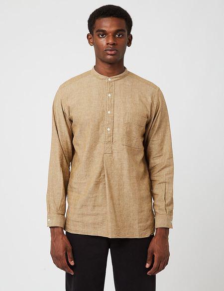 Beams Plus Band Collar Herringbone Pullover Shirt - Khaki Beige