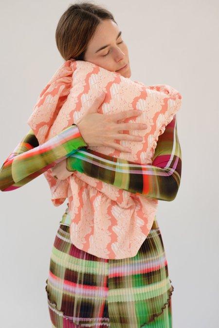 Beklina Ruffle Pillow - French Ribbon Flamingo Glow