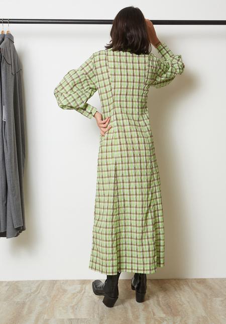 Ganni Seersucker Check Dress - Oyster Gray