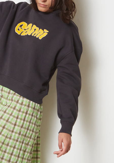 Ganni Isoli Crewneck Logo Sweatshirt - Phantom