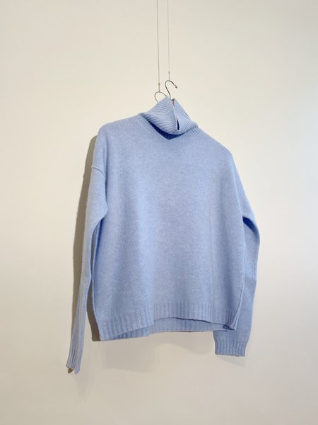 Jumper 1234 Exposed Roll Collar Cashmere Sweater - Sky Marl