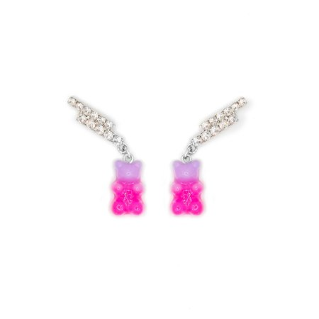 Joomi Lim Double Crystal Bar Earrings w/ Gummy Bear Charms - Rhodium/Crystal/Pink/Purple
