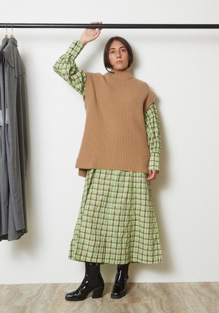 Ganni Rib Knit Sweater Vest - Camel