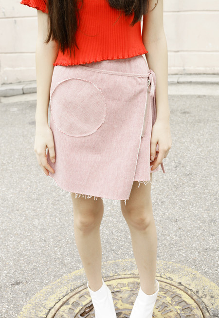Outstanding Ordinary Blush Circle Zip Skirt - pink