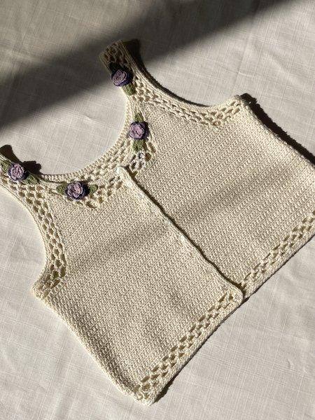 Vintage Floral Crochet Knit Tank - Ecru
