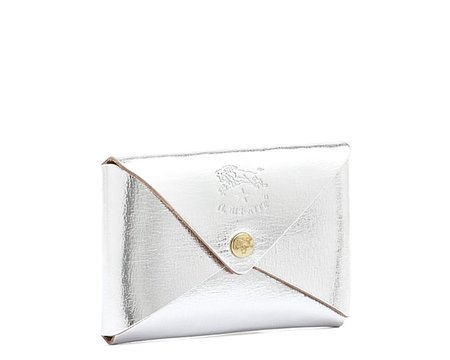 Il Bisonte Card Case - Metallic Silver Cowhide Double Leather