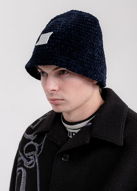 we11done Metal Detail Hand Crochet Bell Hat - Navy