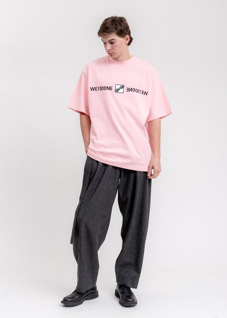 WE11DONE Patched Mirror Logo T-Shirt - Pink