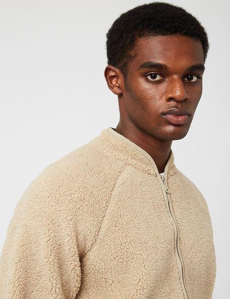 Folk Puzzle Zip Fleece Jacket - Oat Beige