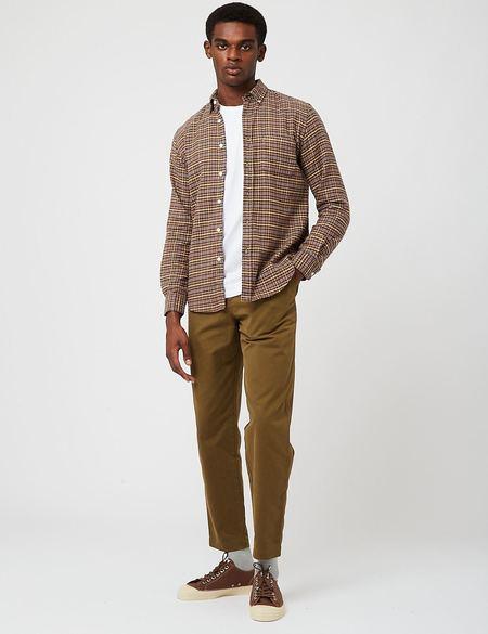 Portuguese Flannel Twill Check Shirt - Brown