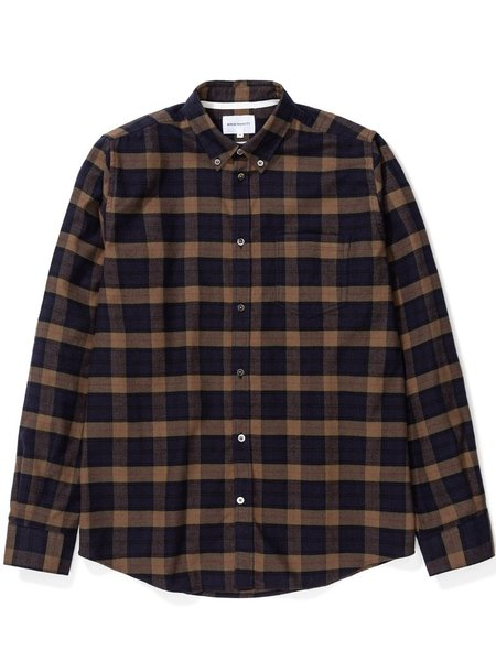 Norse Projects Anton Brushed Flannel Shirt - Shale Stone