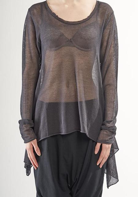Rundholz Black Label Oversized Asymmetric Sheer Knit Cotton Mesh Pullover - Anthra