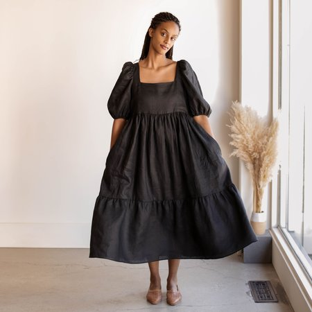 Bronze Age Serenity Puff Sleeve Dress - Black