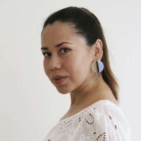 Pamela Coromoto Dexel Mini earrings - Tan/Green/Purple