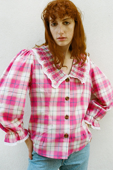 TACH CLOTHING Lila Tartan Shirt - Pink tartan