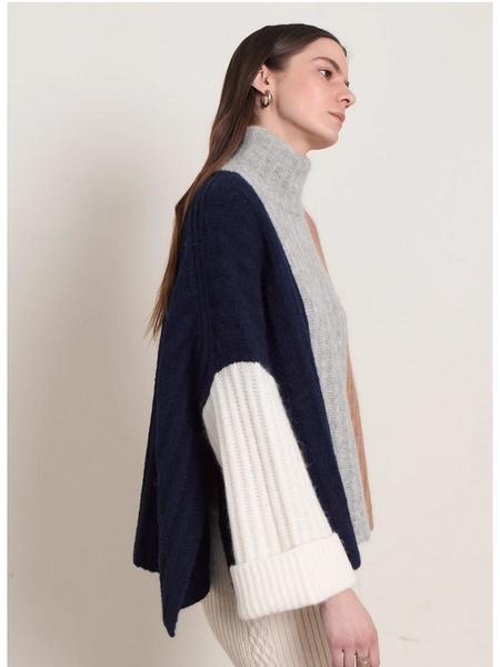 ELEVEN SIX Talia Poncho sweater - Colorblock