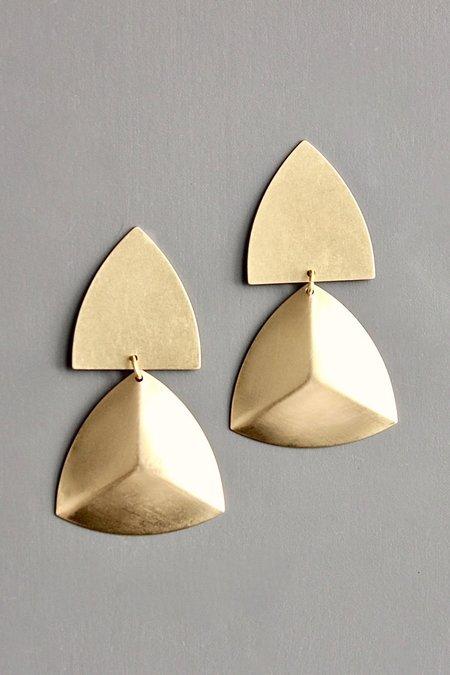 David Aubrey Inc Shield Post Earrings - brass