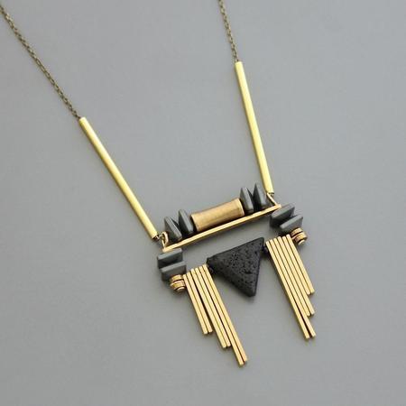David Aubrey Inc Hematite and Lava Stone Stacks Necklace