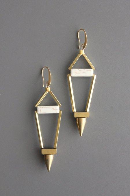 David Aubrey Inc Pentagon Earrings - Magnesite/Brass