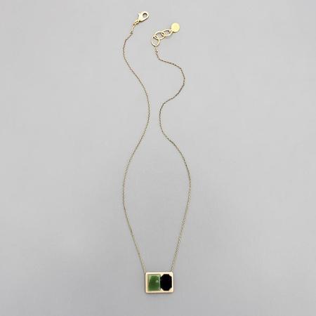 David Aubrey Inc Vintage Glass and Brass Necklace - brass
