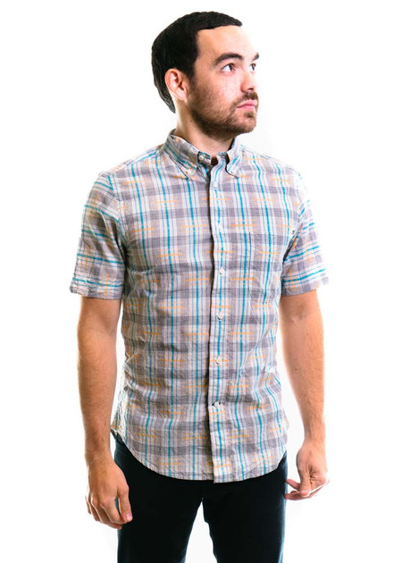 Gitman Vintage SS Archive Space-Dyed Madras Shirt - White/Blue/Yellow
