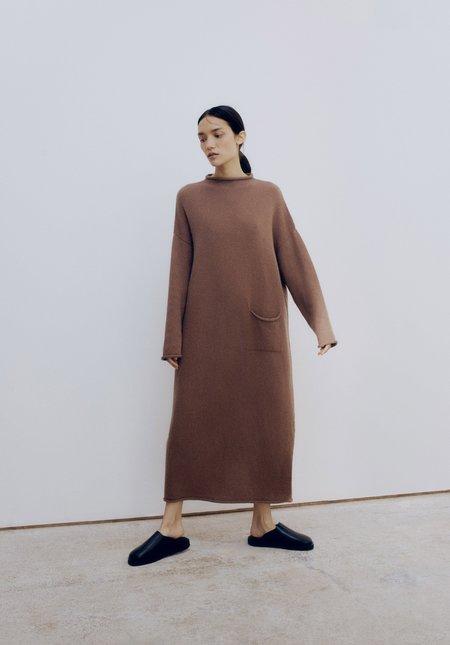 Mónica Cordera Baby Alpaca Roll-Neck Dress - Cognac
