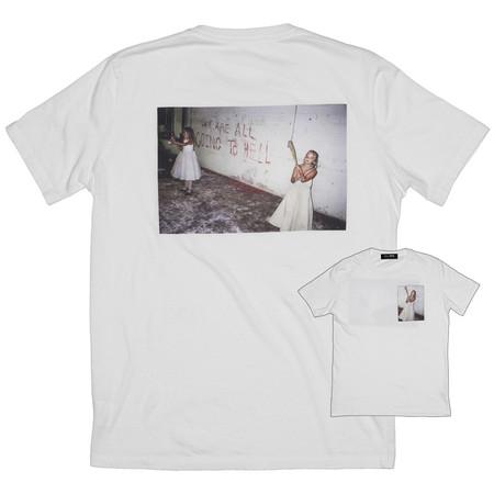Unsiex Skim Milk x Nick Zinner HELL T-Shirt - white