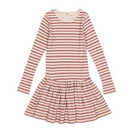 kids marmar copenhagen deanie long sleeve dress - wine stripe