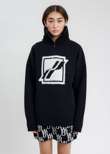 we11done Square Logo Pile Knit Jumper sweater  - Black