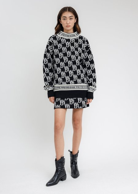 we11done WD1 All Over Logo Knit Mini Skirt - Black