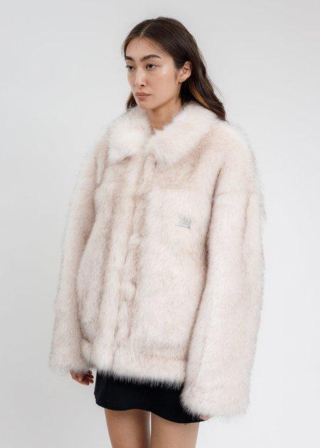we11done  Faux Fur Trucker Jacket - Pink/Black