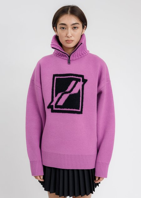 we11done Square Logo Pile Knit Jumper Sweatshirt  - Purple