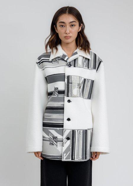 we11done Flat Chain Print Over Shirt Jacket - White